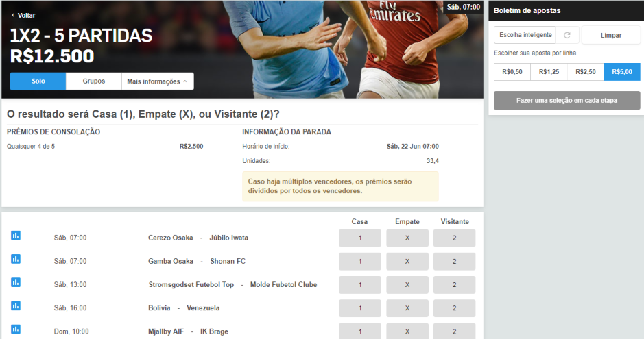 betfair escolhendo o valor 1